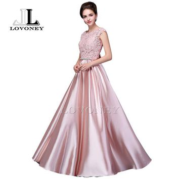 LOVONEY S306 Elegant Red Long Prom Dresses 2017 New Arrival Satin Appliques Gown Formal Evening Party Dress Robe De Soiree