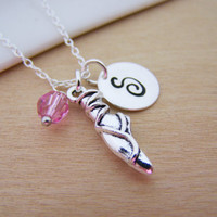 Silver Ballet Shoe Charm Swarovski Birthstone Initial Personalized Sterling Silver Necklace / Gift for Her