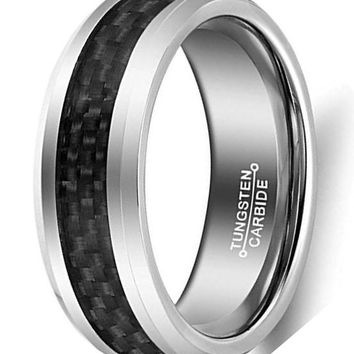CERTIFIED 8mm Black Carbon Fiber Inlay Tungsten Carbide Rings Wedding Band Polished