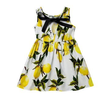 Kids Girl Fruit Printing Pattern Dress Kids Teens Sleeves Cotton Dress Clothes Summer Vestidos 2017