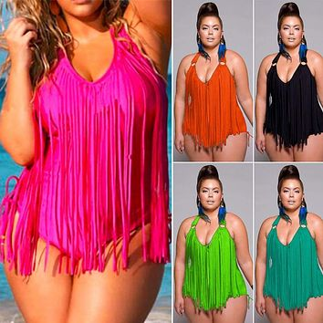 One-Piece Womens Tassel Monokini Swimwear Padded Bikini Swimsuit Beach Plus Size