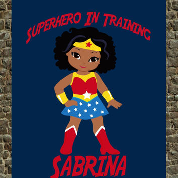 Personalized Superhero Nursery - African American Wonder Woman - Superhero In Training Wall Art Decor