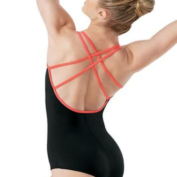 Contrast Strappy Cross Back Leotard | Balera™