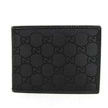HCXX Gucci Men's Black Guccissima Nylon Coin Pocket Bifold Wallet 143384 1000