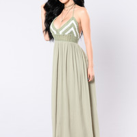 Ancient Ruin Maxi Dress - Sage