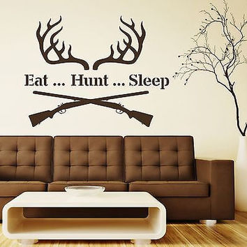 Wall Decal Quotes Eat Hunt Sleep Decals Rifle Vinyl Home Sticker Art Decor MR682