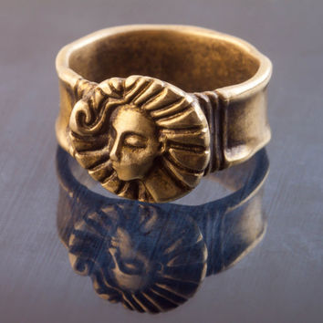 Selene - Sterling Silver Ring with face, pagan moon goddess, pagan jewelry. A unique design by Lena Gorelick, FREE custom inscription.