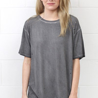 Mineral Washed Tee with Hole Distressing {Charcoal}