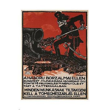 PROTEST AGAINST THE HORROR of WAR vintage poster Austria-Hungary 1912 24X36