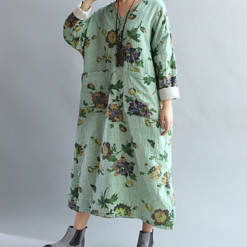 Women romantic Loose fitting Long dress fashion Women maxi dress in gray dress green dress