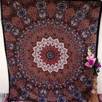 Psychedelic Elephant star tapestry, large indian tapestries, wall decor, wall hanging, dorm decor, blanket, elephant bedsheet, beach throw