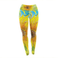 "Catherine Holcombe ""Syaured"" Yellow Green Yoga Leggings"