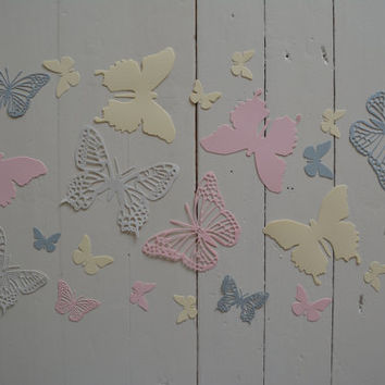 3D Butterflies made of textured card stock in Soft pink, Cream and Grey shades--Let them fly around in your nursery or dress up your party