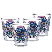 Culver Sugar Skulls Decorated Shot Glasses, 1.75-Ounce, Set of 4