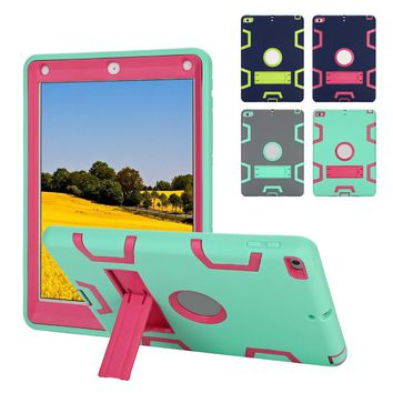 Tablet Case For New iPad 2017 9.7 Model A1822 A1823 Shockproof Heavy Duty Armor Rubber Stand Case Cover for ipad 5th generation