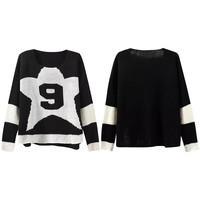 Number 9 in Star Print Panel Knitted Sweater