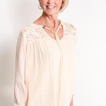 Cream Embroidered Yoke Peasant Top