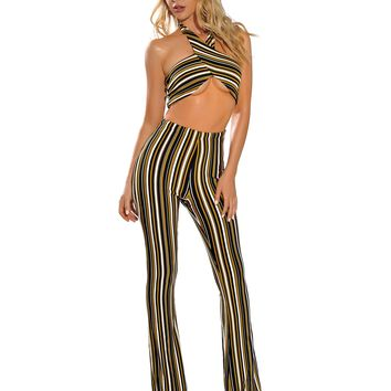 Khloe Yellow Stripe Criss Cross Halter Top Bandage Two Piece
