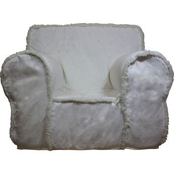 Oversize Ivory Sherpa Chair Cover for Foam Childrens Chair