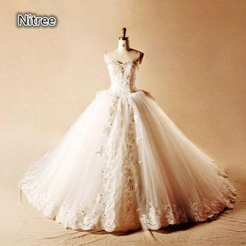 Luxury Crystal Wedding Dress Rhinestone Appliques Ballgowns Brides Dresses Brautkleid Beaded Pearls Ball Gown Wedding Dresses