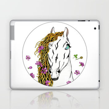 Horse  In Wild Flowers Laptop & iPad Skin by MIKART
