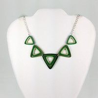 Green Triangles Paper Quilled Necklace - paper quilling necklace, quilling jewelry, quilled triangles, statement necklace, green necklace