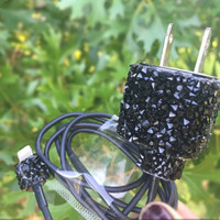 Black gemstone iphone 5 5c 6 6s charger