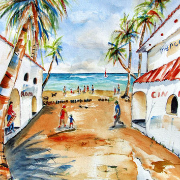 Original Watercolor Painting, Playa Del Carmen Mexico, 12x16,shopping,craft market,shops,Avenida 5,white, tropical decor, ocean, beach decor
