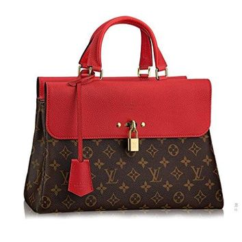 LV Women Shopping Leather Tote Authentic Louis Vuitton Monogram Canvas Venus Handbag Article:M41738 Cherry Made in France