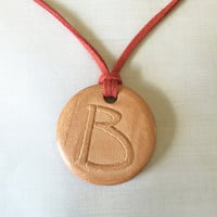 "Letter ""B"" Monogram Terracotta Diffuser Necklace - Essential Oils - Faux Suede Cord -unglazed Terra Cotta Clay Pendant 1.5"" Alphabet Initial"