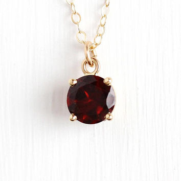 Vintage Garnet Pendant - 14k Yellow Gold Filled Genuine Red Gem Charm Necklace - Retro 1970s January Birthstone Round 1.57 Carat Jewelry