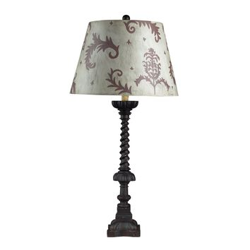 Fronton Table Lamp-Chocolate, Distressed Finish And Hand Painted**