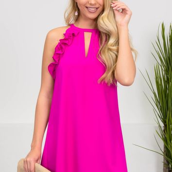 Fuchsia Ruffle Gala Dress