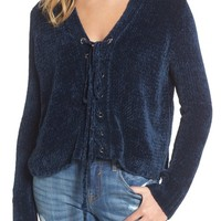 Lost + Wander Maya Chenille Lace-Up Sweater | Nordstrom