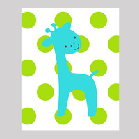 Aqua Giraffe on Lime Green Polka Dots, Modern Baby Room, CUSTOMIZE YOUR COLORS 8x10 Prints, nursery decor nursery print art baby room decor