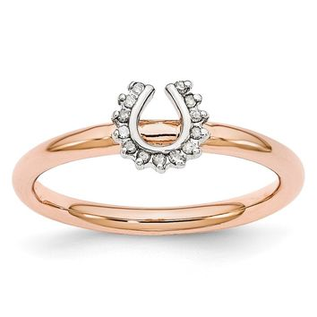 Rose Gold Tone Sterling Silver .07Ctw Diamond 7mm Horseshoe Stack Ring