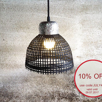 mini bamboo wicker basket pendant light black color with stamped aluminum floral pattern bowl on top