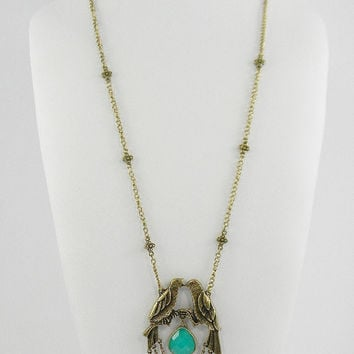 VINTAGE Style KiSsInG BIRDS Teal Drop Pendant Necklace with Swagged Chains