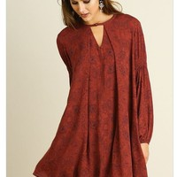 Magical Sunset Red Mix Paisley Print Bishop Sleeve Dress