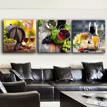 Wine Grape Dessert Canvas Wall Art Print Modern Home Kitchen Wall Decor