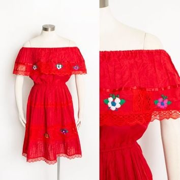 Vintage Mexican Dress - 1980s Embroidered Floral Lace Red Pin Tucked  Peasant Dress 80s - Small