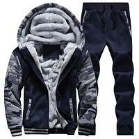 Winter Men Sweatsuits Fleece Warm Mens Tracksuit Set Casual Suits Sportsuit Cool Jacket Pants and Sweatshirt Set Plus size,D62