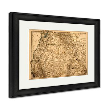 Framed Print, Original Vintage Map Of The Us Pacific Northwest Printed In 1875 Vintage Old