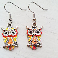 Tropical Owl Dangle Earrings - Spring Hand Painted, Hypoallergenic