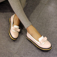 Mixed Color Bow Women Flats Shoes 8520
