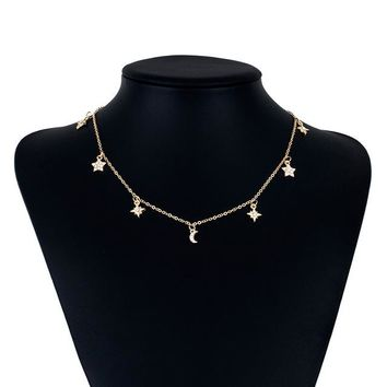 Newest Choker Necklace Star Moon Pendant Chain Golden liver Women Summer Jewelry Nice Gift