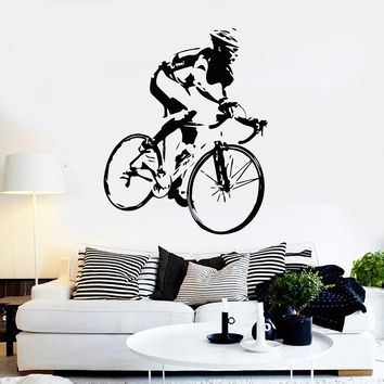 Vinyl Wall Decal Racing Cyclist Bike Bicycle Stickers Mural Unique Gift (ig4160)