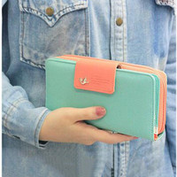 2016 Women's Wallet Button Leather Faux Clutch Classic Cute Lady Purse Long Handbag High Quality Candy Color Card Holder N819