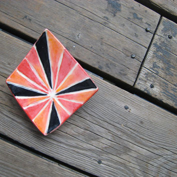 Ceramic Diamond Tray - Red Orange and Black - Ceramics and Pottery - Soap Dish - Spoon Rest - Sushi Plate - Catchall - Outdoor Patio Decor