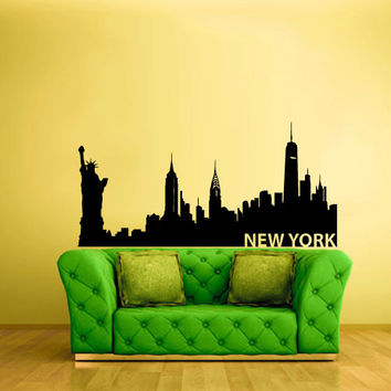Wall Vinyl Sticker Decals Decor Art Bedroom Design Mural Words Sign New York Town City Skyline (z1037)